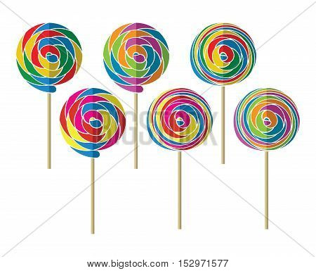 vector background set of colorful lollipop candy balls