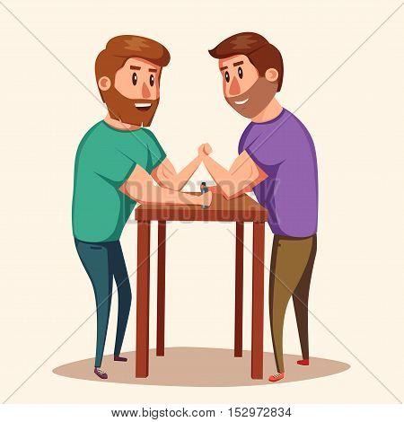 Arm Wrestling. Battle fighters. Cartoon vector illustration. Muscular people. Strong men. Challenge of friends