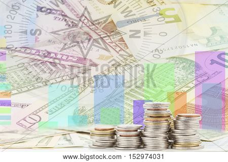 rows of coins on banknote business background