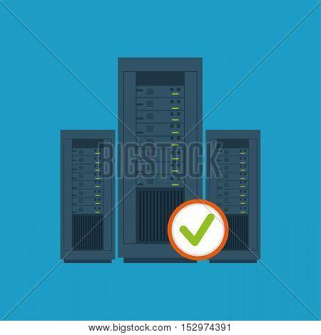 data center server hardware computer system check vector illustration eps 10