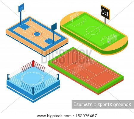 Set isomeric sports grounds. Ring tennis courts stadium basketball court in isometric style isolation on white background. Vector illustration.