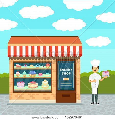 Sweet shop isolated on white and chef confectioner in uniform with cream cake.
