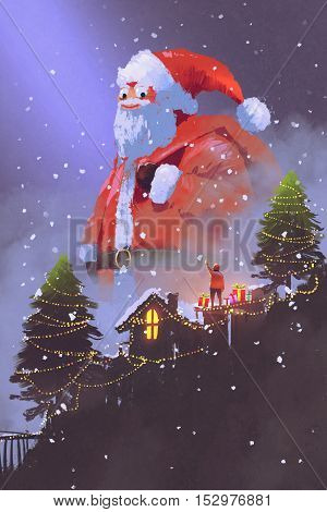 giant santa claus giving gift boxes to a boy at Christmas night, illustration painting.