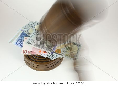 Auction Or Trial Concept With Auctioneers Judges Gavel And Scattered Money Heap On Wooden Table, Clo