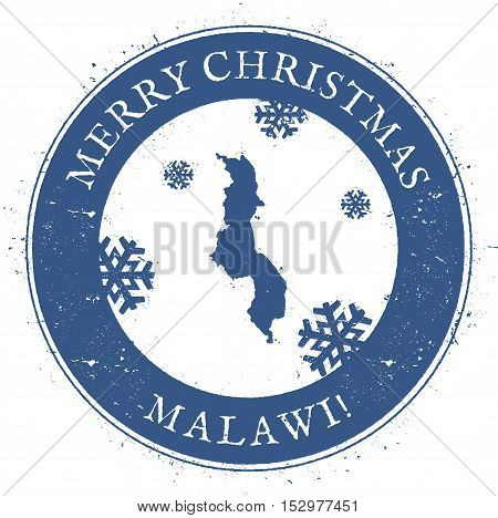Malawi Map. Vintage Merry Christmas Malawi Stamp. Stylised Rubber Stamp With County Map And Merry Ch