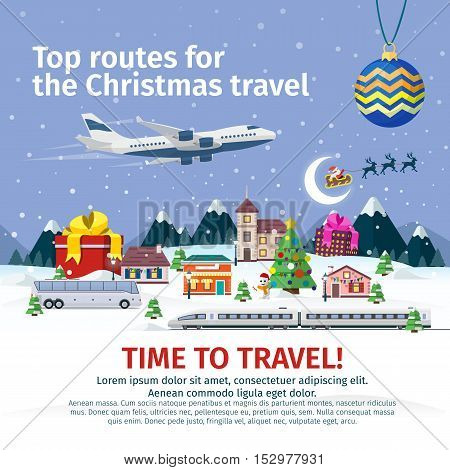 Christmas travel banners in flat style. Nature, buildings, village and city in a flat style. Vector illustration for the website, calendar, banners. Winter landscape. Santa Claus and Christmas ball.