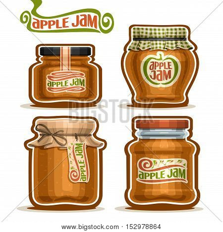 Vector logo Apple Jam in glass Jars with paper cover lid, rustic Pot home made apple jams, twine rope bow, set homemade fruit jam jar, farm jelly pot with label, checkered cloth cap, isolated on white