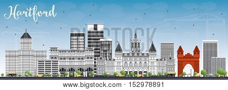 Hartford Skyline with Gray Buildings and Blue Sky. Business Travel and Tourism Concept with Historic Architecture. Image for Presentation Banner Placard and Web Site.