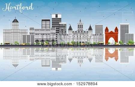 Hartford Skyline with Gray Buildings, Blue Sky and Reflections. Business Travel and Tourism Concept with Historic Architecture. Image for Presentation Banner Placard and Web Site.