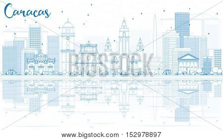 Outline Caracas Skyline with Blue Buildings and Reflections. Business Travel and Tourism Concept with Historic Architecture. Image for Presentation Banner Placard and Web Site.