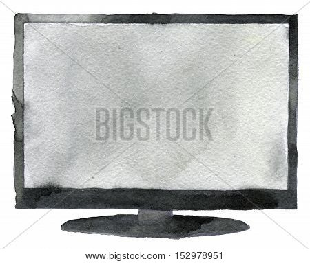 watercolor sketch of tv creen a white background
