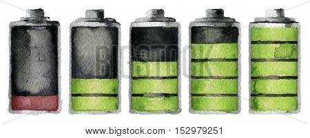 watercolor sketch of battery charge on white background.