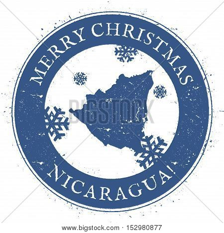 Nicaragua Map. Vintage Merry Christmas Nicaragua Stamp. Stylised Rubber Stamp With County Map And Me