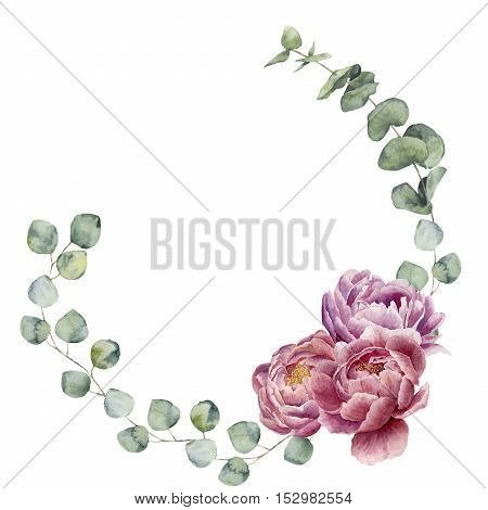 Watercolor floral wreath with eucalyptus leaves and peony flowers. Hand painted floral border with branches, leaves of eucalyptus and flowers isolated on white background. For design or background.