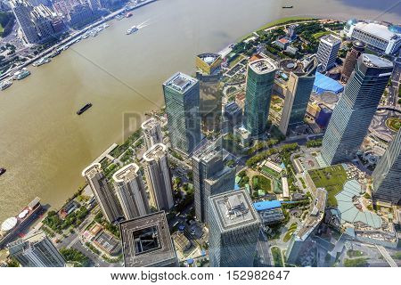 Looking Down on Pudong Bund Huangpu River Skyscrapers Cityscape Shanghai China