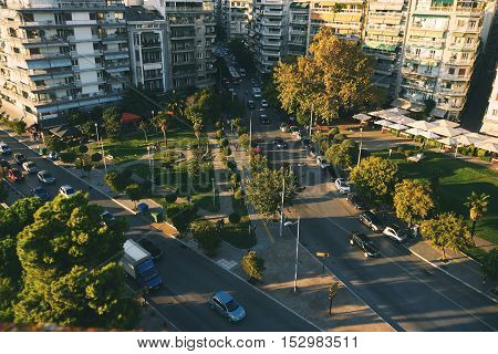 THESSALONIKI GREECE - SEPTEMBER 29 2016: View from the white tower at Thessaloniki city in Greece
