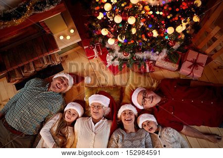 Christmas time spent with family top view