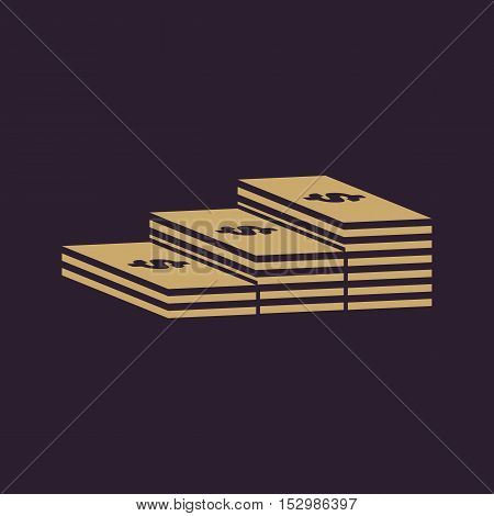 The stack of banknotes icon. Greenback, bank note, money symbol. Flat Vector illustration