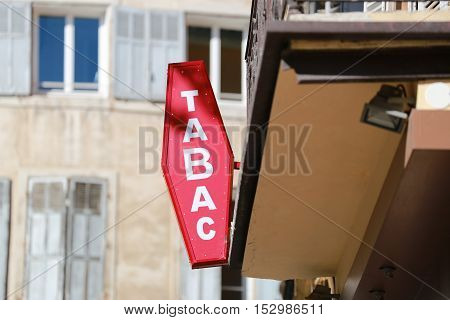 French Red And White Sign Tabac. In France