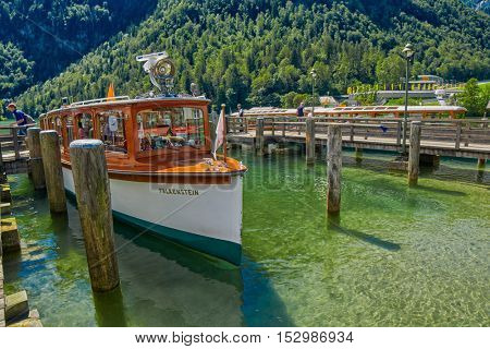 KONIGSEE, BAVARIA GERMANY - 10 Aug 2016: Konigsee Bavarian Lake Boat Cruise