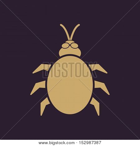 The beetle and bug icon. Acarid, insect, virus symbol. Flat Vector illustration