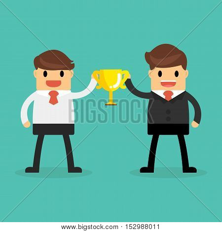 Business Concept, Business Teams Holding A Champion Gold Trophy.