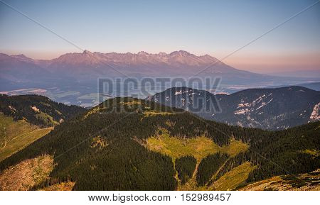 High Tatras Mountains at Sunset as Seen from Mount Dumbier in Low Tatras Slovakia