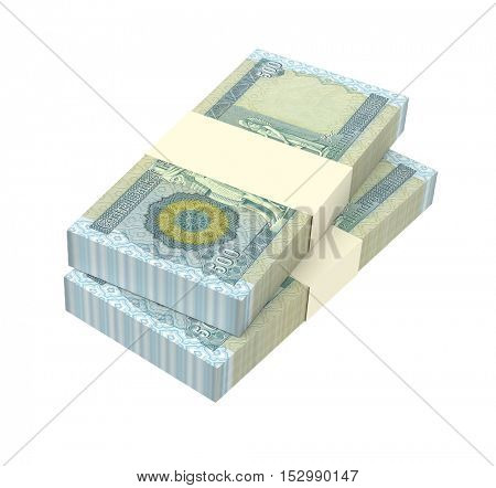 Iraqi dinars bills isolated on white background. 3D illustration.