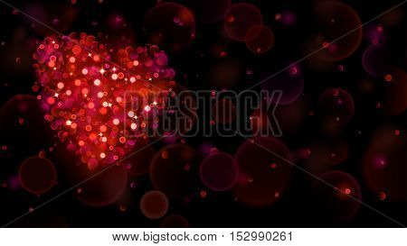 Abstract Background With Big Red Heart With Bokeh Effect