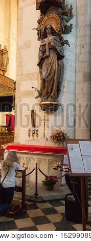 Krakow Poland - October 2 2016: Figure of St. Rita the holy of difficult issues patroness of wives and mothers in the church of St. Catherine in Krakow