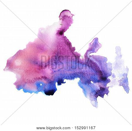Watercolor raster colorful background, blot. Modern raster illustation