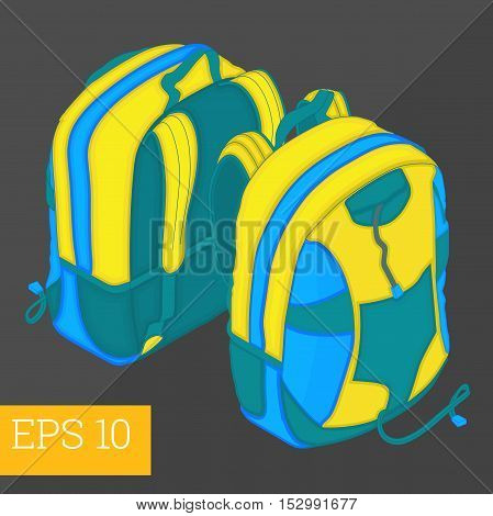 School Backpack Isometric Vector Illustration