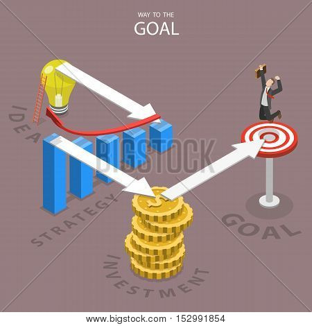 A way to the goal isometric flat vector illustration. A businessman has reached this goal after making all the steps which are needed for this. Idea strategy investment goal.