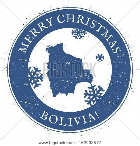 Bolivia Map. Vintage Merry Christmas Bolivia Stamp. Stylised Rubber Stamp With County Map And Merry