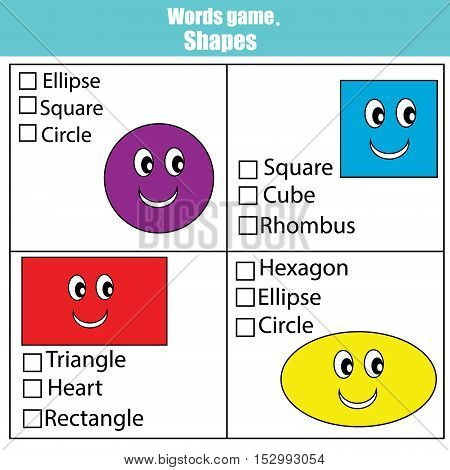 Words test educational game for children. Learning geometric shapes. Choose the correct answer task