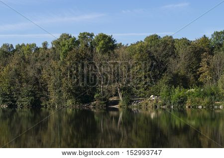 View on beautiful green Trees in a Nature Reserve. Close-up of a Lake in front of a Forest. Trees in front of a blue Sky