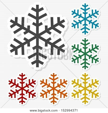 Multicolored paper stickers - Snowflakes on gray background