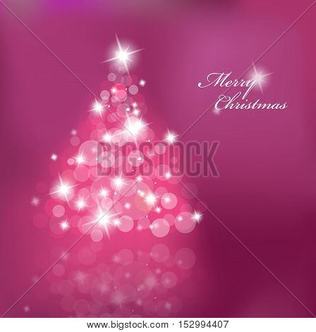 Lighted up Christmas tree with many lensflares on purple background.