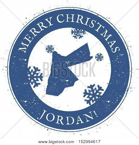 Jordan Map. Vintage Merry Christmas Jordan Stamp. Stylised Rubber Stamp With County Map And Merry Ch