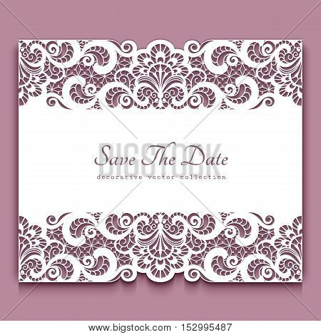 Elegant cutout paper frame with lace border ornament greeting card or invitation template