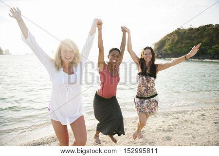 Woman Beach Summer Sunlight Travel Concept