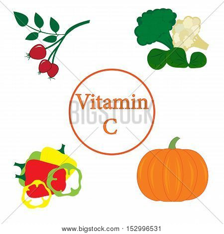 Colorful Set Of Products Which Contain The Most Vitamin C