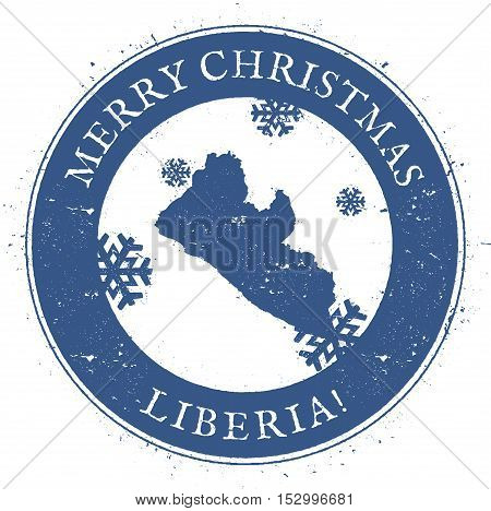 Liberia Map. Vintage Merry Christmas Liberia Stamp. Stylised Rubber Stamp With County Map And Merry