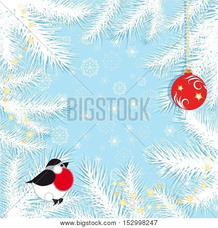 Blue Christmas background with snowflakes fir branches bullfinch and Christmas ball vector illustration