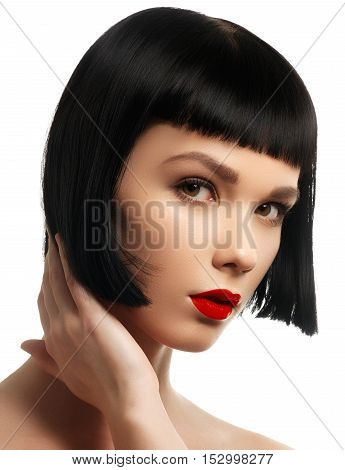 Beauty Model With Perfect Glossy Brown Hair. Close-up Portrait.