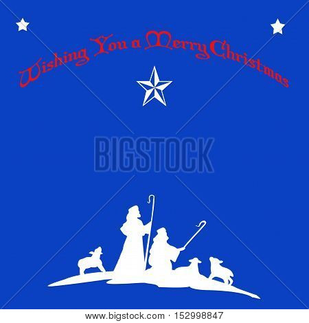 Merry Christmas Greeting with Shepherds and Sheep