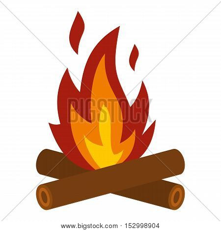 Camp fire icon. Flat illustration of fire vector icon for web design