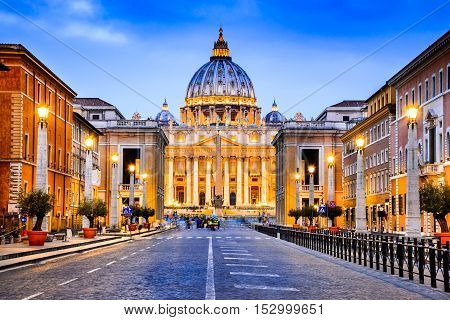 Rome Italy. The Papal Basilica of Saint Peter in the Vatican (Basilica Papale di San Pietro in Vaticano)
