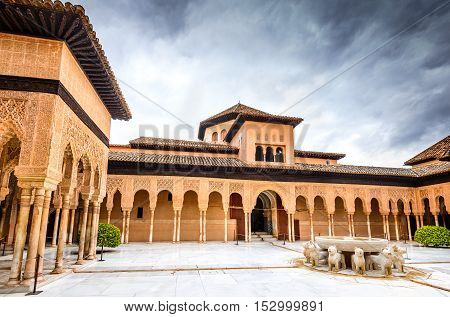 GRANADA SPAIN - 13th May 2016: Patio de los Leones in Alhambra of Granada. Alhambra of Granada is one of the most known monuments in Spain.