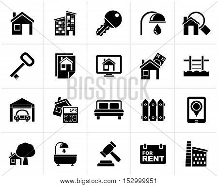 Black Real Estate business Icons - Vector Icon Set